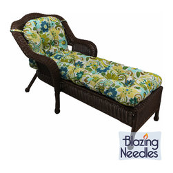 Blazing Needles - Blazing Needles 69x21-inch U-shaped Outdoor Tufted Chaise Lounge Cushion - Add a bright pop of color to your outdoor chaise with this U-shaped cushion from Blazing Needles. Made of spun polyester to resist the elements,this tufted cushion features a generous five inches of fill for hours of comfortable lounging.