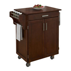 Home Styles - Home Styles Cuisine Cart in Cherry Finish with Cherry Top - Home Styles - Kitchen Carts - 90010077G -Home Styles Cuisine Kitchen Cart in a cherry finish with a 3/4 inch Cherry finished wood top features solid wood construction, and Utility drawer; 2 cabinet doors open to storage with adjustable shelf inside; Handy spice rack, Towel bar; Heavy duty locking rubber casters for easy mobility and safety. Size: 32.5w 18.75d 35.5h. Assembly required.