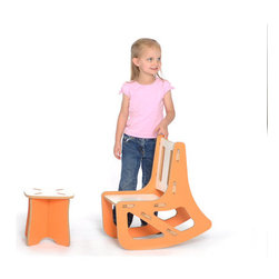 """Sprout - Kid's Rocking Chair - Sprout Kids Rocking Chair snaps together in seconds all with no tools. The perfect addition to the nursery, toy room, or preschool these contemporary rockers encourage exploration and creativity in your kids. Features: -Easy to store.-Made from recycled pre-consumer material.-Material: MDF.-Interchangeable Seat, Back and Brace.-Made in the USA.-Product Type: Rocking chair.-Collection: Kids Rocking Chair.-Distressed: No.-Powder Coated Finish: No.-Gloss Finish: No.-Frame Material: Melamine-Faced Medium Density Fiberboard.-Solid Wood Construction: No.-Number of Items Included: 1.-Non-Toxic: Yes.-UV Resistant: No.-Fire Resistant: No.-Scratch Resistant: No.-Stain Resistant: No.-Rust Resistant: No.-Mildew Resistant: No.-Rot Resistant: No.-Insect Resistant: No.-Arms Included: No.-Upholstered Seat: No.-Upholstered Back: No.-Nailhead Trim: No.-Rocker: Yes.-Swivel: No.-Glider: No.-Reclining: No.-Footrest Included: No.-Stackable: No.-Foldable: No.-Inflatable: No.-Legs Included: No.-Casters: No.-Cupholder: No.-Skirted: No.-Ottoman Included: No.-Adjustable Height: No.-Ergonomic Design: No.-Outdoor Use: No.-Seating Capacity: 1.-Swatch Available: No.-Commercial Use: No.-Recycled Content: Yes -Total Recycled Content (Percentage): 75%.-Remanufactured/Refurbished : No..-Eco-Friendly: Yes.-Product Care: Wipe with a damp cloth.-Country of Manufacture: United States.-Convertible: No.Specifications: -FSC Certified: No.-CPSIA or CPSC Compliant: No.-CARB Compliant: Yes.-Green Guard Certified: No.Dimensions: -Overall Height - Top to Bottom: 21"""".-Overall Width - Side to Side: 12"""".-Overall Depth - Front to Back: 20"""".-Seat Height: 10"""".-Seat Width - Side to Side: 10"""".-Seat Depth - Front to Back: 10"""".-Overall Product Weight: 8 lbs.Assembly: -Assembly Required: Yes.-Additional Parts Required: No.Warranty: -Product Warranty: Sprout products include a 30 day major defect warranty. Sprout reserves the right to replace the either the entire product or the defective comp"""