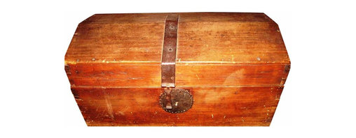 "Mexican trunk - Old, hand made wood trunk is 23"" x 12 "" x 12"" high, with handmade steel strap & Key hole. This is a unique and very attractive trunck ,hand made in mexico, it is very old, circa 1920."