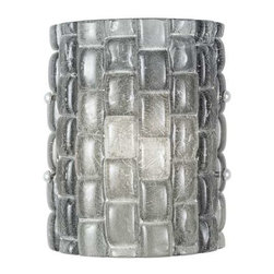 842050-1ST Sconce Constructivism - Sconce of individually cast Midnight grey glass pillow-shaped pieces, fused at high temperature in a hand-laid cobblestone pattern. The individual lenses create a fascinating light diffuser & sculptural form. Exposed metal in hand-applied silver leaf.