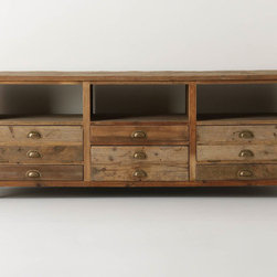 Illusorio Console - This media console has a great vintage vibe to it. It's made from reclaimed pine, which gives it character and history even though it's a new piece.