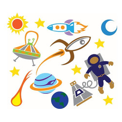 Outer Space Collection Wall Decal - Blast off for adventure (but keep your walls intact) with our collection of outerspace decals. Ideal for children's rooms as well as schools.
