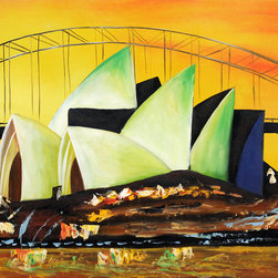 """overstockArt.com - Sydney's Opera House - 20"""" X 24"""" Oil Painting On Canvas Sydney's Opera House is a remarkable oil painting with exceptional use of color, detail and brush strokes. This oil painting has a delightful setting that is sure to bring many admirers. Complement this painting by picking the frame of your choice. Scroll down to view this painting with our selection of museum-quality frames. Also, visit our Frames Gallery in order to get a better look at each individual frame. Or purchase this painting now un-stretched and unframed by clicking the """"add to cart"""" button."""