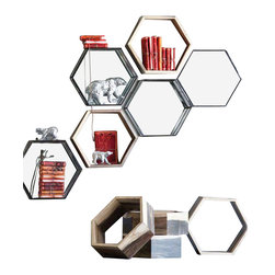 Eco Honeycomb Shelf - Create a unique shelf sculpture for displaying collectibles or special keepsakes. The Eco Honeycomb Shelf is made from repurposed furniture production remnants, including a blend of teak, oak and mindi woods. It's perfect for tabletops or to hang on your wall to create a geometric arrangement. Sold individually.