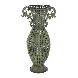 Oriental Furniture - Wrought Iron Perforated Floral Vase - This lightweight and weather resistant wrought iron vase looks lovely indoors as well as in the garden. The classic floral design is finished with a rich rust veneer, which will accentuate the modern home with antique style.