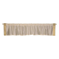 Indian Selections - Pair of Cream Rod Pocket Top It Off Handmade Sari Valance, 43 X 15 In. - Size of each Valance: 43 Inches wide X 15 Inches drop