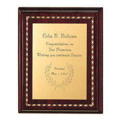 "Howard Miller - Beveled Wood Stained Wall Plaque w Marquetry - Tell someone how much you care with this impressive plaque; it's perfect for an anniversary, promotion, or any other important occasion! The frame is finished in an attractive Rosewood Hall color, with a decorative design which runs around the entirety of the piece. Includes two brass dowels for optional tabletop display. * Plaque features high-gloss finish with decorative marquetry and profiled edge, and comes with brass dowels for optional tabletop display. . Engraved plate not included. . Finished in Rosewood Hall on select hardwoods and veneers. . H. 10"" (25 cm) . W. 8"" (20 cm). D. 1"" (3 cm)"