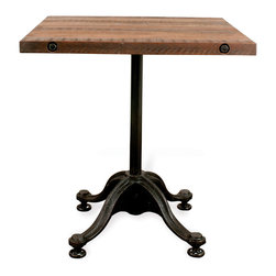 Kathy Kuo Home - Pedro Reclaimed Wood Square Bistro Café Dining Table - Been searching for the perfect table for your breakfast nook? Consider the search complete. This stunning reclaimed industrial table features cast iron curved legs and a natural hardwood top. Bring a bit of Parisian bistro to your kitchen, with an antique piece that feels like it should come complete with check board floors and pomme frites. A chic statement that'll have you clamoring for pancakes multiple times a day, this table is vintage industrial style at its best. Enjoy a one year warranty on this piece.