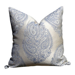PillowFever - Paisley Pillow Cover in Pearl and Blue - Pillow insert is not included!