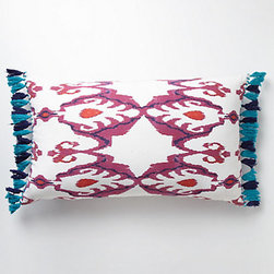 Fringed Javadi Pillow, Fuchsia - Mix this pillow with this one from Tulu Textiles or this Roberta Roller Rabbit pillow.