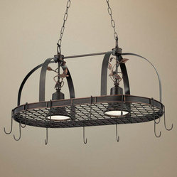 2 Light Bronze Finish Hanging Pot Rack Chandelier