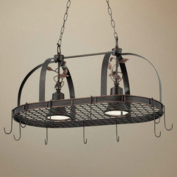 2 Light Bronze Finish Hanging Pot Rack Chandelier - This wonderful 2 light kitchen chandelier in a bronze finish metal doubles as a pot rack. A stylish and functional ceiling light, this bronze finish downlight chandelier doubles as a hanging pot rack. A perfect addition to a kitchen island. Hold pots, pans and kitchen towels.
