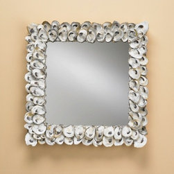 Currey & Company Oyster Shell Mirror - This mirror is made from real oyster shells.