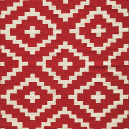 "Momeni - Momeni Laguna LG-04 (Red) 3'6"" x 5'6"" Rug - Geometric patterns, vibrant colors and chic simplicity all collaborate to make the flat-weave Dhurry collection, Laguna. Made in India of 100% wool, Laguna utilizes a vibrant color palette that plays off geometric patterns."