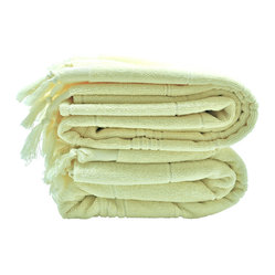 Turkish-T - Luxe Plush Bath Towel,  Cream - Get the spa feeling anytime with this hand-loomed, lightweight, generously sized Turkish bath towel. The luxurious shaved terry is easy to store and launder and resists mildew.