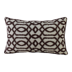14 Karat Home - Gatsby Pillow, Brown - Create an unconventional and inviting look in your living space by adding this ikat inspired geometric design. This is a perfect accent pillow to spruce up your sofa.