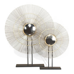 Kathy Kuo Home - Marlo Gold Modern Convex Sunburst Mirror Sculptures- Set of 2 - Ornate in the most modern way possible, this distinctive set of contemporary sunburst mirror sculptures is an edgy, mixed metal take on a classic interior piece.  With a layered, spiky halo of iron and an inner circle of gold finished metal, there is a certain boldness to the line of this piece which could find it's way quite easily into a tribal/exotic styled space as easily as it could a mid century modern one.