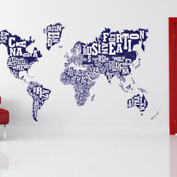 Voyage wall stickers - There is nothing standard about this world map. This urban style print displays all countries with playful letters spelling out their names in an original way.