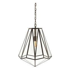 Arteriors - Arteriors Edmond Pendant - A funky pendant light from Arteriors.  This brass and glass hexagonal pendant light is sure to make a statement when suspended alone and also when arranged in multiples.