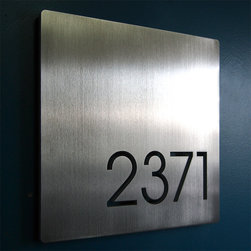 Address Plaques - CUSTOM Minimalist Square House Number Sign in Aluminum