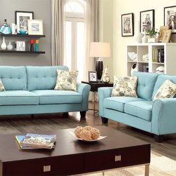 Furniture of America - Furniture of America Primavera Modern 2-Piece Linen Loveseat and Sofa Set - Spruce up your living space with some bright and lively colors. This inviting set showcases inviting linen fabric,four floral printed accent pillows,and slightly outward-curving designs.