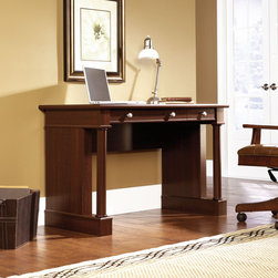 Sauder - Palladia Writing Desk - A timeless classic style balanced between the past and the unique needs of the contemporary world. Designed around the universal architectural principals of symmetry, the Palladia Collection rediscovers past insights and solutions that remain vital and relevant today. The collection features half and full round architectural columns and accented by handsome plinths throughout and nickel knobs. Features: -Writing desk.-Made in USA.-Palladia collection.-Cherry finish.-Distressed: No.-Collection: Palladia.-Country of Manufacture: United States.-Desk Type: Writing Desk.-Top Finish: Select Cherry.-Base Finish: Select Cherry.-Accent Finish: Select Cherry.-Powder Coated Finish: No.-Gloss Finish: No.-UV Finish: No.-Top Material : Engineered wood.-Base Material: Engineered wood.-Hardware Material: Metal.-Non-Toxic: Yes.-Water Resistant: No.-Stain Resistant: Yes.-Heat Resistant: Yes.-Style: Traditional.-Design: Rectangular.-Hardware Finish: Pewter.-Eco-Friendly: Yes.-Cable Management: Yes.-Keyboard Tray: Yes.-Height Adjustable: No.-Drawers Included: Yes -Number of Drawers: 2.-File Drawer: No.-Drawer Glide Material : Metal runners with safety stops.-Safety Stop : Yes.-Soft-Close Drawer: Yes.-Locking Drawer: No.-Ball Bearing Glides: Yes.-Joinery Type : Hidden cam and dowel.-Drawer Handle Design: Knob..-Pencil Drawer: Yes.-Jewelry Tray: No.-Exterior Shelving : No.-Cabinets Included: No.-Ergonomic Design: No.-Handedness: both.-Scratch Resistant: Yes.-Chair Included: No.-Legs Included: No.-Hutch Included: No.-Treadmill Included: No.-Cork Back Panel: No.-Modesty Panel : Yes.-CPU Storage: No.-Built In Outlet: No.-Built In Surge Protector: No.-Light Included: No.-Finished Back: No.-Tipping Prevention: No.-Modular: No.-Lifestage: Teen-adult.-Compatibility: Accepts items in Palladia Collection Select Cherry.-Commercial Use: No.-Product Care: Wipe with damp cloth.-Weight Capacity: 50 lbs.-Swatch Available: Yes.-Recycled Content: Yes -Remanufactured/Refur