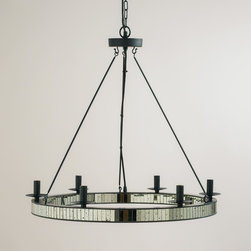 World Market - Round Mercury Glass Chandelier - We've outfitted our Round Mercury Glass Chandelier with a rim of mercury glass chips for a dazzling effect. Perfect for illuminating the dining table with prismatic reflections, this handcrafted chandelier is available for a fantastic value.