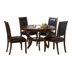 Homelegance - Homelegance Avalon 7 Piece Round Dining Room Set in Cherry - This clean-lined transitional casual dining takes its roots from the art deco era of the 1930's. The Avalon dining collection is both straight forward and dramatic. Excitement comes from its simple yet elegant rectangular leg table and two round table options, streamlined bowed fronts bunching china with tear drop drawer pulls and its matched veneer drawer front design. The dark brown bi-cast vinyl chair with style and durability makes a statement of its own. Constructed of maple veneers with select hardwoods in a contemporary low sheen cherry finish.