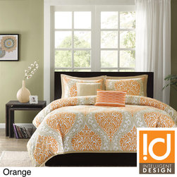 ID-Intelligent Designs - ID-Intelligent Design Sabrina 5-piece Comforter Set - The Sabrina comforter set will surely make a fashion statement in your bedroom. Choose from the vibrant orange and taupe, or large black and gray damask print, which will add a pop of color to this comforter.