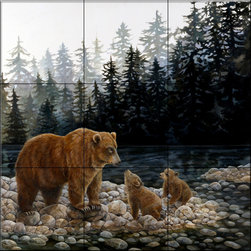 The Tile Mural Store (USA) - Tile Mural - Grizzlies Lesson by the Lake  - Kitchen Backsplash Ideas - This beautiful artwork by Laura Regan has been digitally reproduced for tiles and depicts a mother and her two grizzly cubs.    A bear tile mural would be perfect as a part of your kitchen backsplash tile project or your tub and shower surround bathroom tile project. Bear images on tile make a great kitchen backsplash idea and are excellent to use in the bathroom too for your shower tile project. Consider a tile mural with bear pictures for any room in your home where you want to add wall tile with interest.