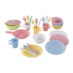 KidKraft - 27 Piece Cookware Play Set - Pastel by Kidkraft - Your little chef can now prepare and serve delicious imaginary culinary delights with KidKraft's 27 Piece Kitchen Play Set. Molded in durable plastic and set in cheery pastel colors of pink, buttercup, sky blue and white, this extensive kitchen set.
