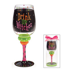 Burton & Burton - Drink Up Witches Wine Glass - Decorative Cup - Cute And Fun For Any Occasion - What better way to wind down your evening than with a delicious glass of wine sipped from one of our fashionable wine glasses? Or perhaps you're looking for the perfect glass for a ladies' night in. Well, look no further!