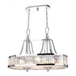 Artcraft Lighting - Artcraft Lighting CD2078 Chrome Island Light from the Crystal Cloud Collection - The Crystal Cloud collection by Carolina Lares, features prism shaped crystals incased by chrome plated frames. Truly Stunning! Oval Chandelier with glass diffuser.  Features: