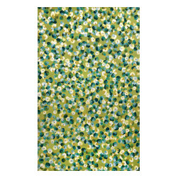 """Trans-Ocean - Pansy Lime 42"""" x 66"""" Indoor/Outdoor Flatweave Rug - The highly detailed painterly effect is achieved by Liora Mannes patented Lamontage process which combines hand crafted art with cutting edge technology. These rugs are Hand Made of 100% Polyester fibers that are intricately blended together using Liora Manne's patented Lamontage process. They are then finished using modern needle punching and latexing processes that create a work of art that is practical. The flat simple nature of these Lamontage rugs is an ideal base with which to create a rug that is at the same time a work of art. Perfect for any Indoor or Outdoor space, they are antimicrobial,  UV stabilized, and easy care."""