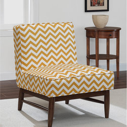 None - Ella Slipper Gold Chevron - The Ella Slipper Chair features a very popular mid-century modern styling with welt cord detail on the seat and back. Solid wood legs and frame in a deep walnut finish with a striking gold pattern to add a pop of color to any decor.