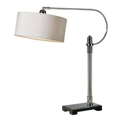 Uttermost - Uttermost Adara Glass & Chrome Desk Lamp - Adara Glass & Chrome Desk Lamp by Uttermost Ribbed Glass Column Accented With Polished Chrome Plated Details And A Matte Black Foot. The Round Hardback Shade Is An Ivory Linen Fabric With Natural Slubbing. Shade Pivots Up And Down.