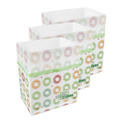 Clean Cubes Disposable Bin, Two 3-Packs Party Pattern