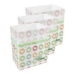 Clean Cubes - Clean Cubes Disposable Bins, Party Pattern, 6-Pack - Simply brilliant. These bright white cubes let you fill up the trash bin, then simply tie up the top and throw the whole container out. And to shed a little more light on the subject, they are biodegradable, so taking out the trash is easy on your conscience too.