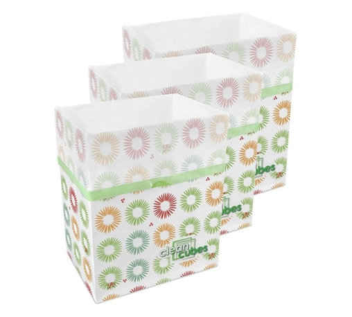 Clean Cubes - Clean Cubes Disposable Bin - 6-Pack Party Pattern - Simply brilliant. These bright white cubes let you fill up the trash bin, then simply tie up the top and throw the whole container out. And to shed a little more light on the subject, they are biodegradable, so taking out the trash is easy on your conscience too.