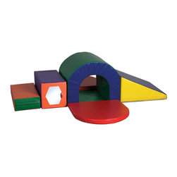 Ecr4kids - Ecr4Kids Softzone Slide and Crawl Set, 6 Pieces - Slide, Crawl and Play. Kids will be encouraged to climb, explore and learn as they play on this colorful 6 piece set. Tunnels have higher-density foam to keep kids safe while they're exploring. Soft, sturdy, polyurethane foam shapes are covered in reinforced, phthalate-free vinyl to create a comfy and stimulating learning environment. Encourages climbing, crawling, social interaction and develops gross motor skills.
