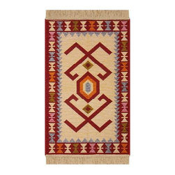 Reversible Authentic Kilim Rug / Size 3x4 - Rug of Ages Collection (Kiowa) - Brand: Rugs of Ages