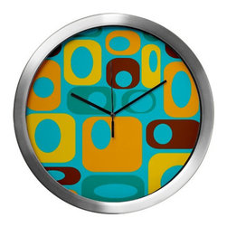 Crash Pad Designs - Mod Wall Clock,Mid Century Modern Wall Clock, Decorative Wall Clock, - Our 14 inch mod wall clock, will make a big retro statement in your pad. This aluminum clock has a quartz movement, aluminum hands, and a glass cover. The face is your favorite Crash Pad Designs pattern.  * 1 AA battery included