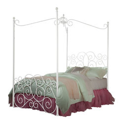 Standard Furniture - Standard Furniture Princess Canopy Bed in White Metal - Twin - Canopy Bed in White Metal belongs to Princess Collection by Standard Furniture Every little girl will be a princess with our frilly metal canopy Princess Bed as the focal point of her bedroom.  Headboard & Footboard w/ Slats (1), Rails, Crown w/ Support (1)