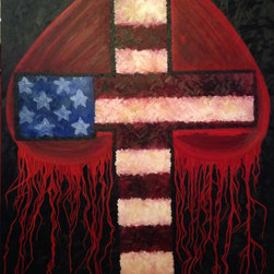 """""""My Heart Bleeds"""" Patriotic Cross Original Oil Painting - Patriotic cross original oil painting on a gallery canvas. 48"""" x 60"""" x 1.5"""" only one available.  This is an original painting by professional artist Sheri Johnson Lopez. Sheri was inspired by our American Soldiers and Christ who protects us every day."""