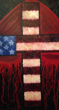 """My Heart Bleeds"" Patriotic Cross Original Oil Painting - Patriotic cross original oil painting on a gallery canvas. 48"" x 60"" x 1.5"" only one available.  This is an original painting by professional artist Sheri Johnson Lopez. Sheri was inspired by our American Soldiers and Christ who protects us every day."