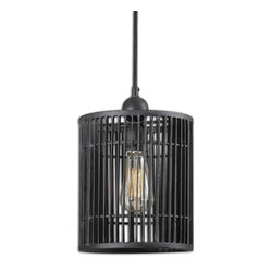 Uttermost - Bronson 1-Light Mini Pendant - The vintage industrial look is hot right now, and there's no better way to bring it home than with a good old-fashioned electric light. This 19th century-inspired pendant lamp includes a filament light bulb in an antiqued black metal cage. You'll adore its gentle luminosity and the shadows the shade creates.