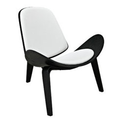 """LexMod - Arch Lounge Chair in Black White - Arch Lounge Chair in Black White - Some lines were made to be bent in this throw-back piece to the mid-50s. Arch is a deeply kinetic piece that propels both style and a sense of adventure into expanse-driven living and lounge areas. Constructed of molded wood with and ash veneer, the vinyl padded seat and back compliment this perfect piece to compliment a life on the move. Set Includes: One - Arch Wood Lounge Chair Durable molded plywood, Padded vinyl seat and back, Tripod base, Ash veneer, Assembly Required Overall Product Dimensions: 15""""L x 29""""W x 25.5""""HBACKrest Dimensions: 14.5 - 18.5""""W x 12.5""""H Seat Dimensions: 17.5""""W x 15.5""""H - Mid Century Modern Furniture."""