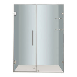 """Aston - Aston Nautis GS 53x72, Completely Frameless Hinged Shower Door, Stainless - Utility meets luxury with the Nautis GS completely frameless hinged swinging shower door. Available in a multitude of dimensions - from 36"""" to 60"""" in width (72"""" height) - the Nautis GS consists of a fixed glass panel with a built-in two-tier shelf storage system and a hinged swinging glass door panel. All Nautis GS models feature 10mm ANSI-certified clear tempered glass, stainless steel or chrome finish hardware, self-closing hinges, premium leak-seal clear strips and is engineered for reversible left or right hand installation. Includes a 5 year limited warranty; base not included."""
