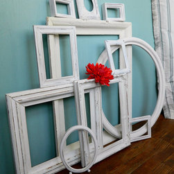 Instant Collection Of 11 Chippy White Vintage Picture Frames By Ela Lake Design - Make a gallery wall out of entirely white mismatched frames. These frames would go well in a shabby-chic (oh how I hate that term) or more rustic Scandinavian environment.